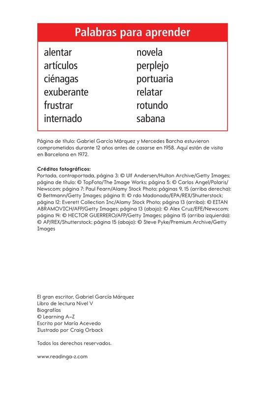 Book Preview For El gran escritor, Gabriel García Márquez Page 2