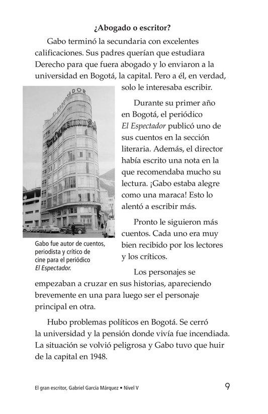 Book Preview For El gran escritor, Gabriel García Márquez Page 9