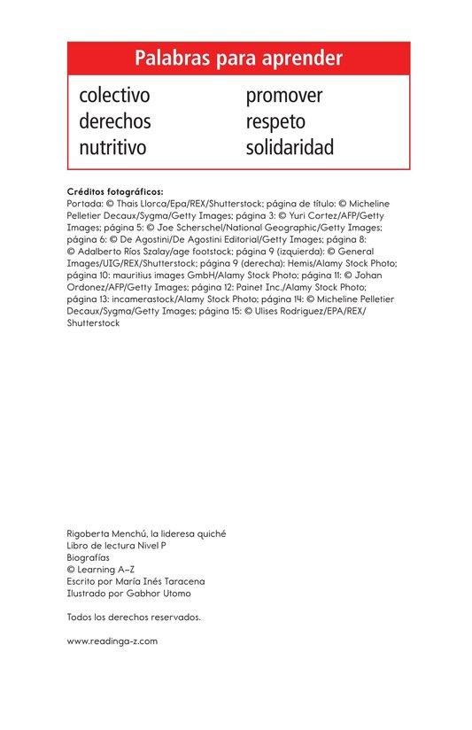Book Preview For Rigoberta Menchú, La lideresa quiché Page 2