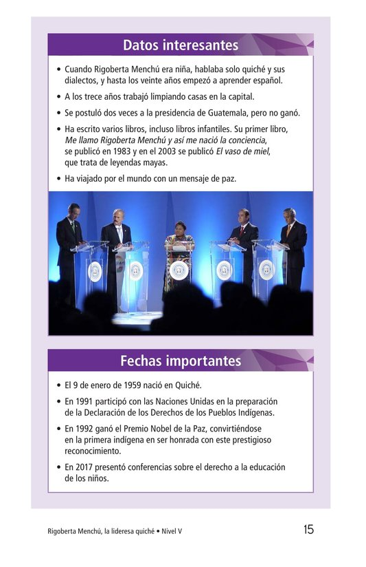 Book Preview For Rigoberta Menchú, La lideresa quiché Page 15