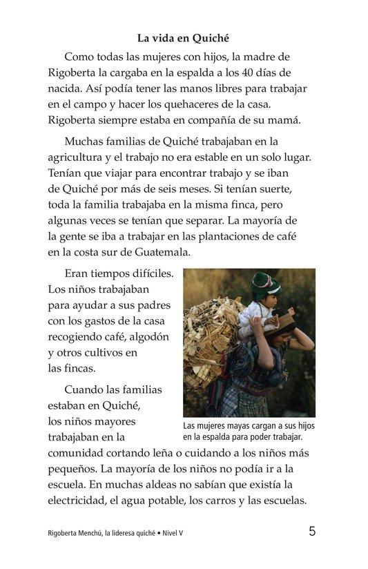 Book Preview For Rigoberta Menchú, La lideresa quiché Page 5