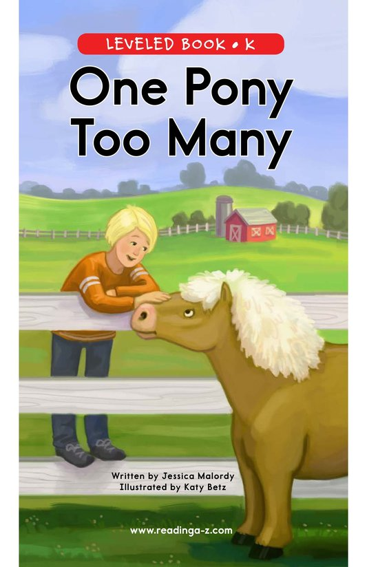 Book Preview For One Pony Too Many Page 0