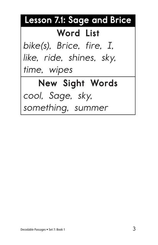 Book Preview For Decodable Passages Set 7 Book 1 Page 3