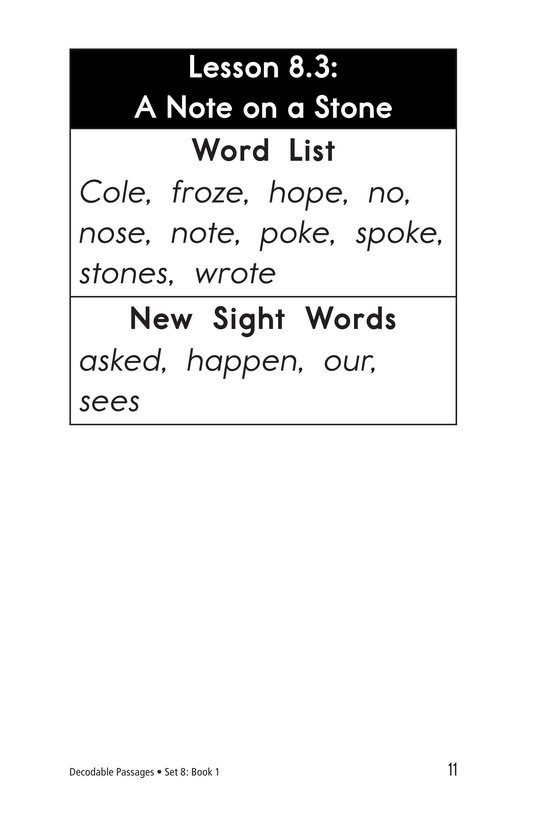 Book Preview For Decodable Passages Set 8 Book 1 Page 11