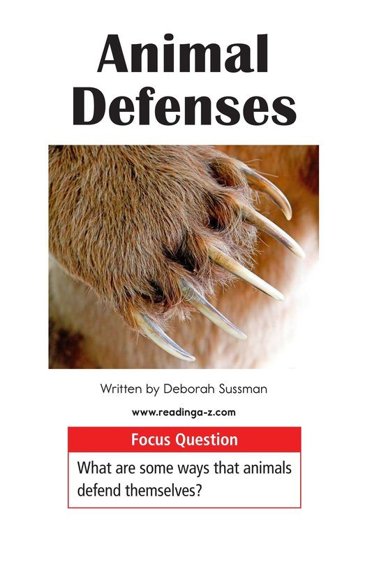 Book Preview For Animal Defenses Page 1