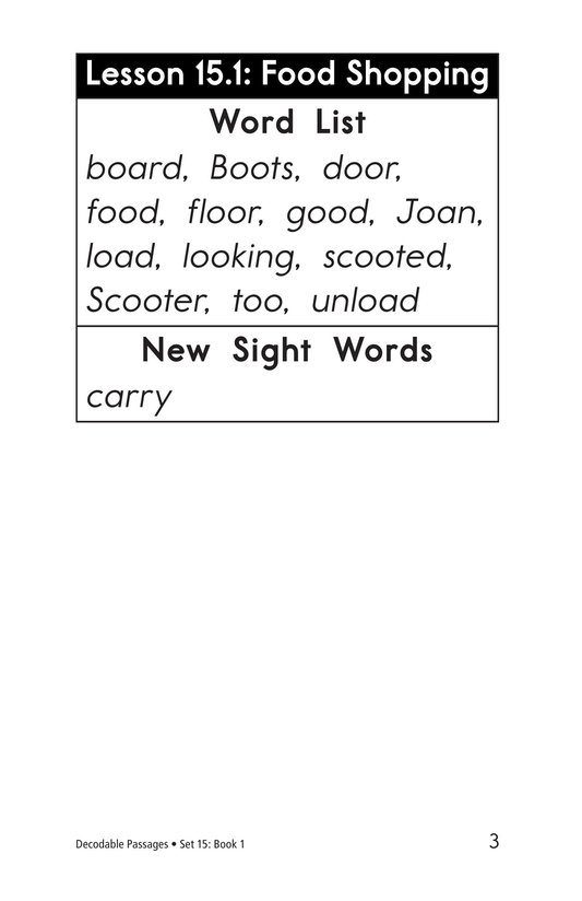 Book Preview For Decodable Passages Set 15 Book 1 Page 3