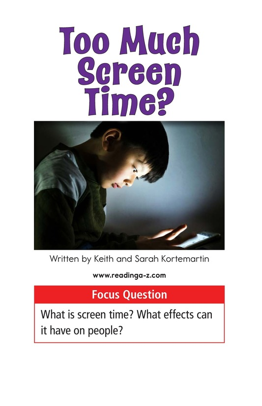 Book Preview For Too Much Screen Time? Page 1