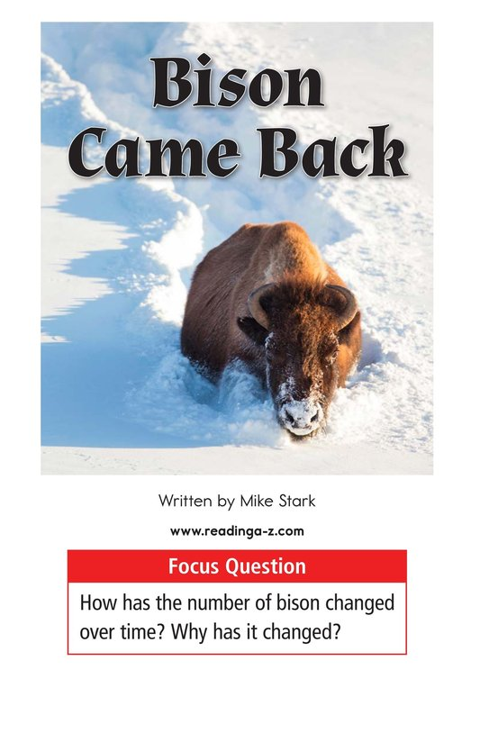Book Preview For Bison Came Back Page 1