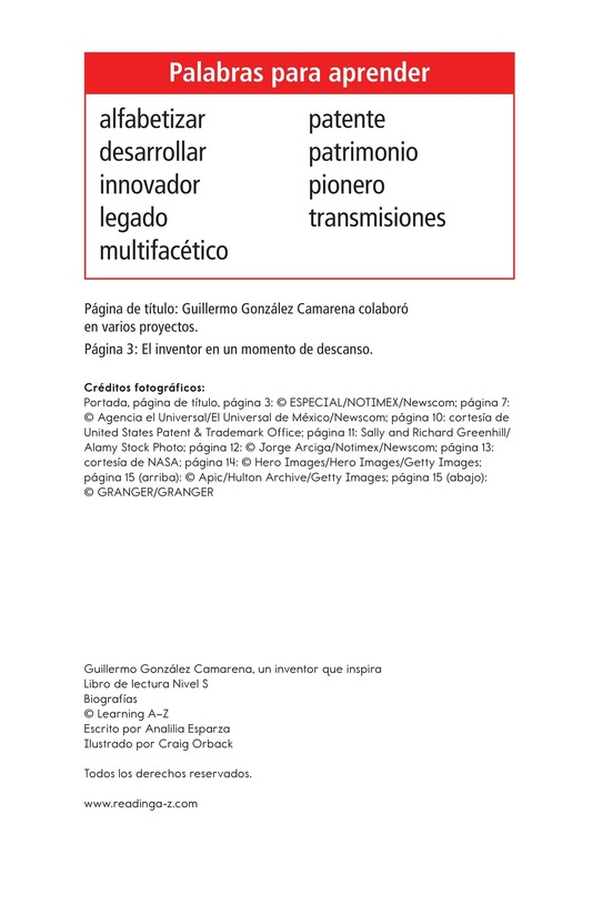 Book Preview For Guillermo González Camarena, un inventor que inspira Page 2