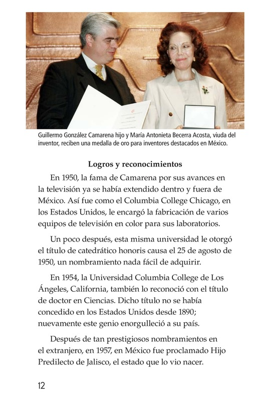 Book Preview For Guillermo González Camarena, un inventor que inspira Page 12