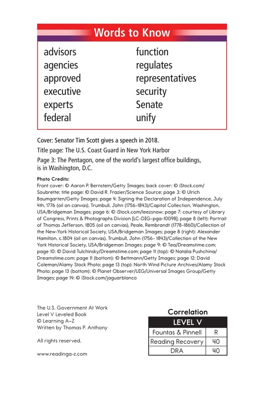 Book Preview For The U.S. Government At Work Page 2
