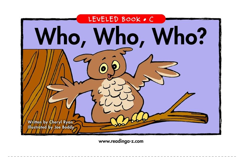 Book Preview For Who, Who, Who? Page 1