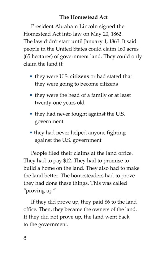 Book Preview For The Homestead Act Page 8