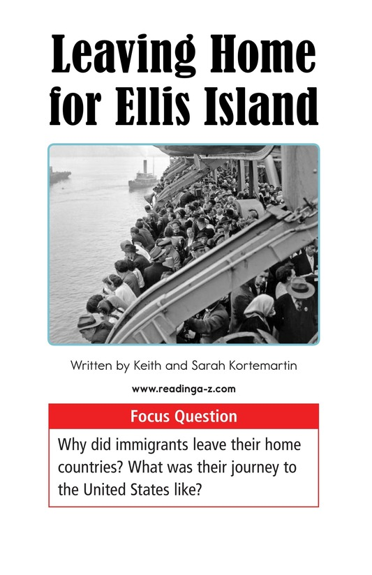 Book Preview For Leaving Home for Ellis Island Page 1