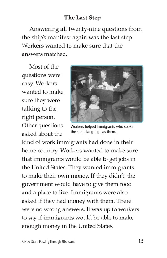 Book Preview For A New Start: Passing Through Ellis Island Page 13