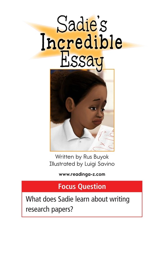 Book Preview For Sadie's Incredible Essay Page 1