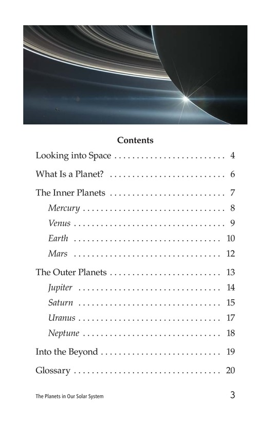 Book Preview For The Planets in Our Solar System Page 3