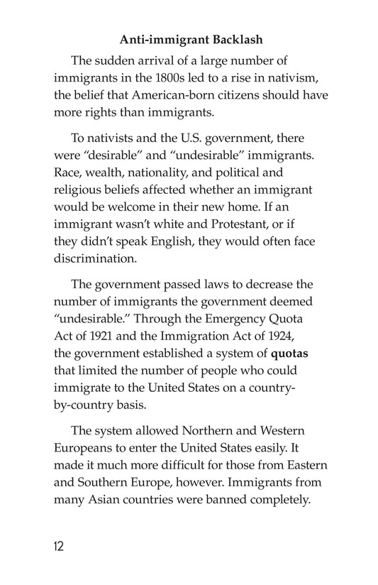 Book Preview For Immigration in the United States Page 12