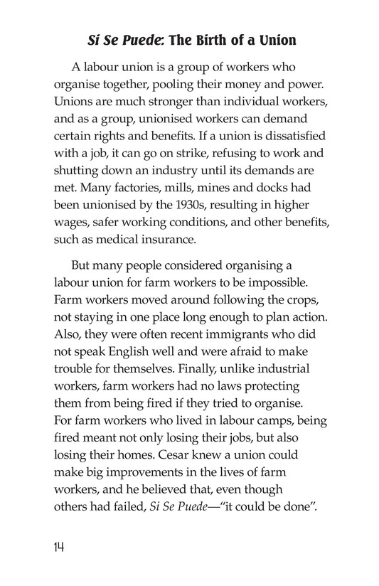 Book Preview For The Life of Cesar Chavez Page 14