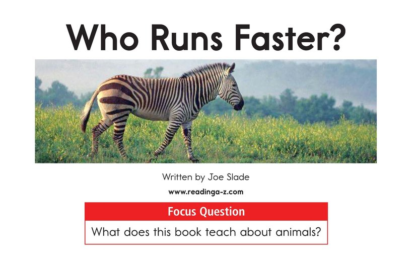 Book Preview For Who Runs Faster? Page 1