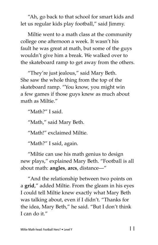Book Preview For Miltie Math-head: Football Hero? Page 11
