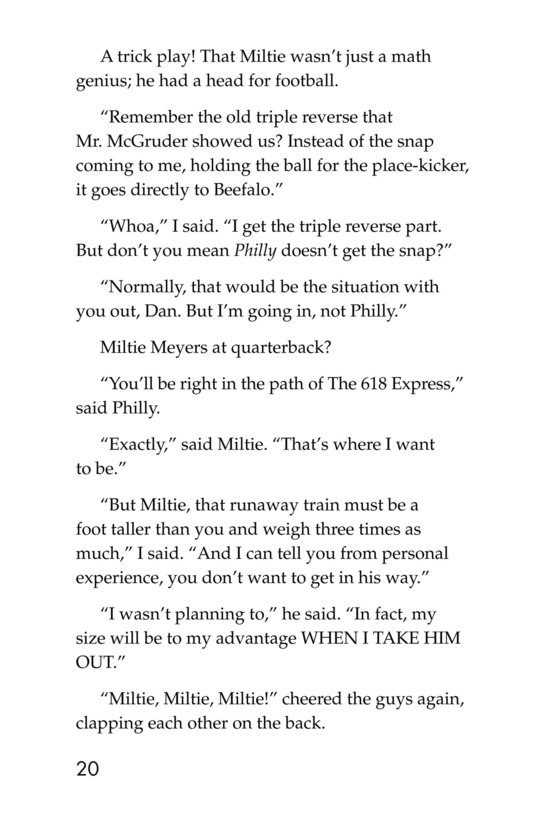 Book Preview For Miltie Math-head: Football Hero? Page 20