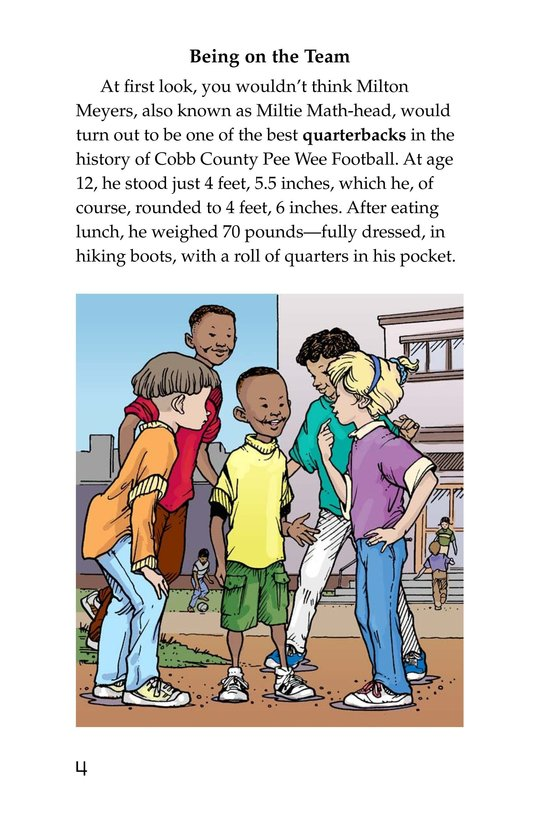 Book Preview For Miltie Math-head: Football Hero? Page 4