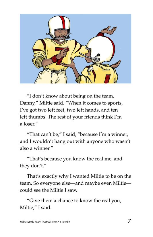 Book Preview For Miltie Math-head: Football Hero? Page 7