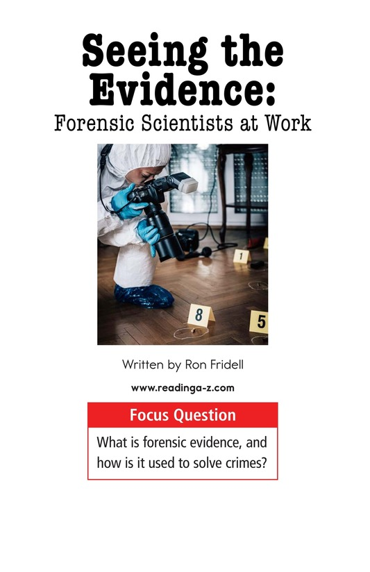 Book Preview For Seeing the Evidence: Forensic Scientists at Work Page 1
