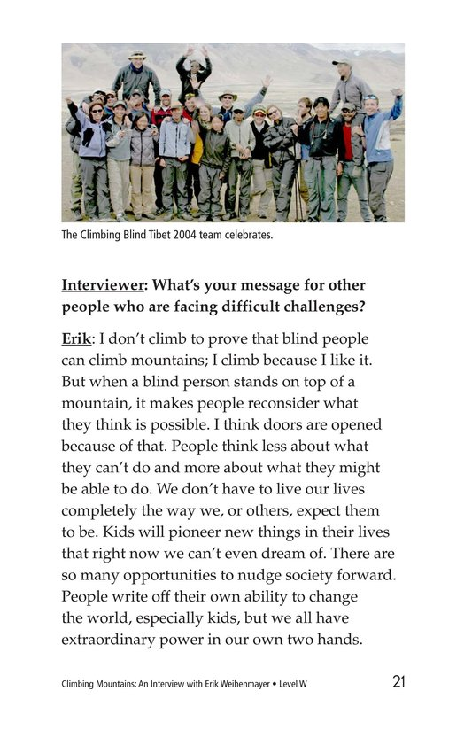 Book Preview For Climbing Mountains: An Interview with Erik Weihenmayer Page 21