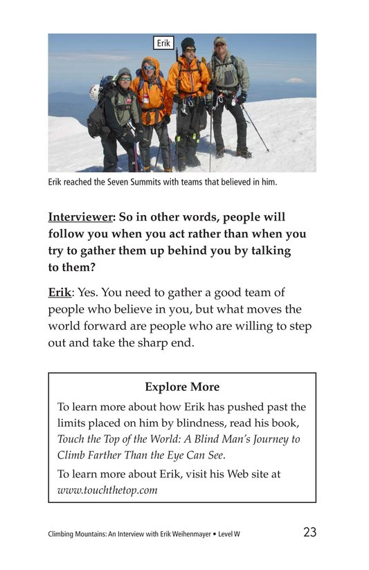 Book Preview For Climbing Mountains: An Interview with Erik Weihenmayer Page 23