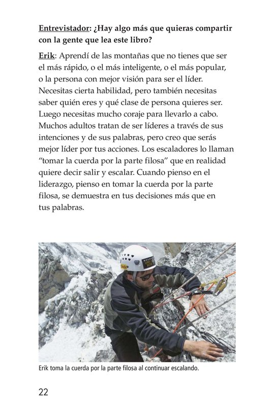 Book Preview For Climbing Mountains: An Interview with Erik Weihenmayer Page 22