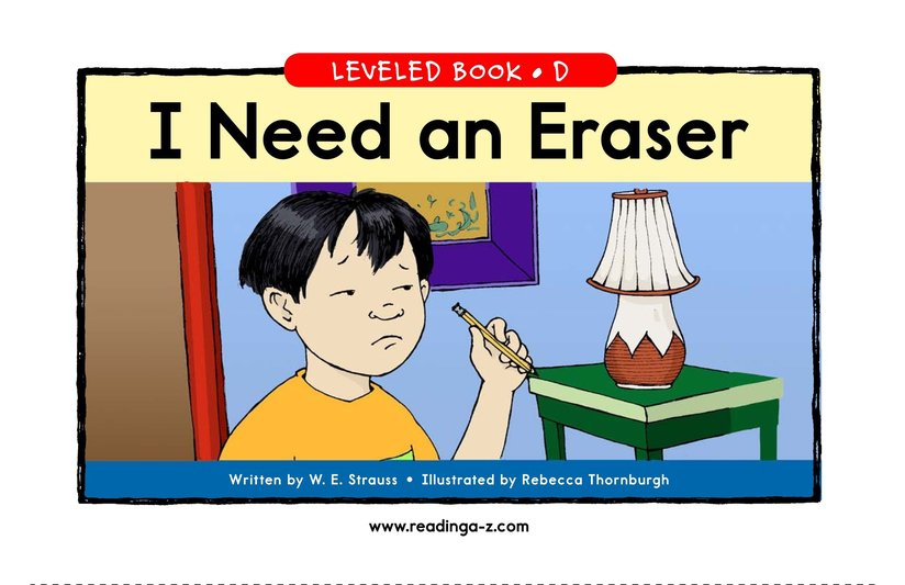Book Preview For I Need An Eraser Page 1