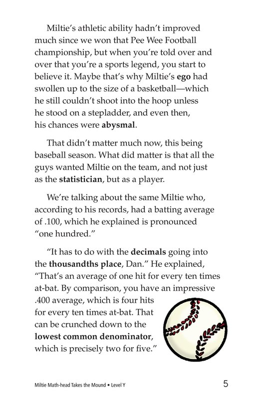Book Preview For Miltie Math-head Takes the Mound Page 5