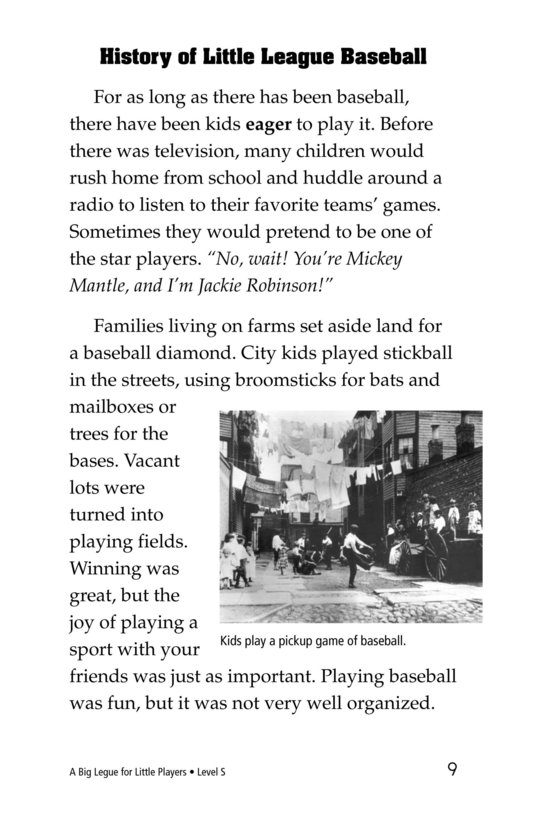Book Preview For A Big League for Little Players Page 9