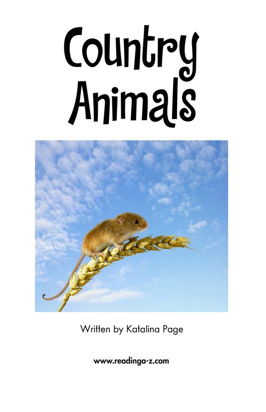 Book Preview For Country Animals Page 2